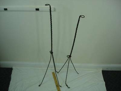 Antique Pair of 2 Lightning Rod Stands Twisted Wire Tripod Rusty Crusty #B