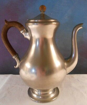 VIntage Royal Holland Daalderop KMD Tiel PEWTER Coffee Pot with Wood Handle
