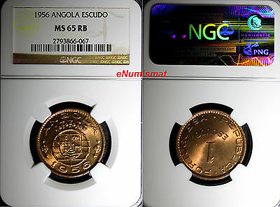 Angola Bronze 1956 1 Escudo NGC MS65 RB RED-BROWN KM# 76