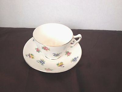 Vintage Crown STAFFORDSHIRE Bone China Tea Cup and Saucer Petite Flowers Multi
