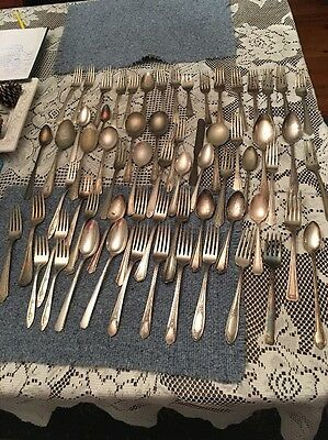 60+ Pieces Mixed Lot of Silverplate Flatware for Crafts Jewelry Steampunk