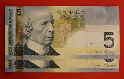 2006 $5 Bank of Canada Low Number Set 2 Notes 0000677-678 - 59.95