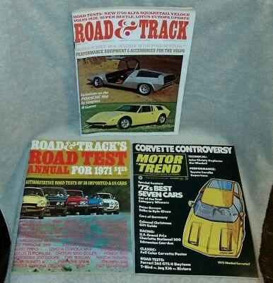Lot of 3 Vintage Road & Track (1971) and Motor Trend (Dec '71) Magazines