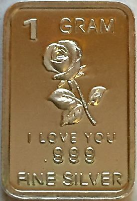 "1 Gram .999 Fine Pure Solid Silver ~ Min Art-Bar - "" I Love You "" with/ Rose """