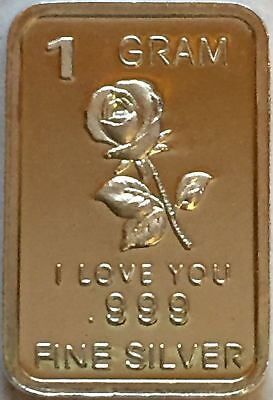 "1 Gram .999 Fine Solid Silver Bullion Art-Bar - "" I Love You "" with/ Rose"
