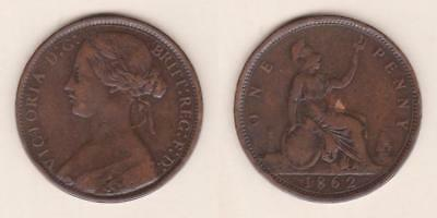 Great Britain One Penny 1862  ---  Gbae