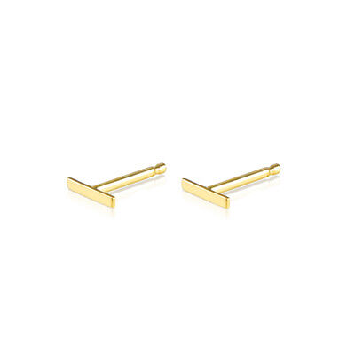 0ce7281b3 Line Stud Earrings 14K Yellow Gold Bar with Push Back 6mm Tiny Ear Cute Gift