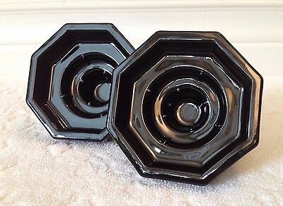 RETRO-JG Durand ARC France; TWO Octime-Black 3-Size Candlestick Holders; '70-80s