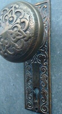 Victorian Brass Bronze Door Knob and Cast Back Plate - Ornate Design H - 13100
