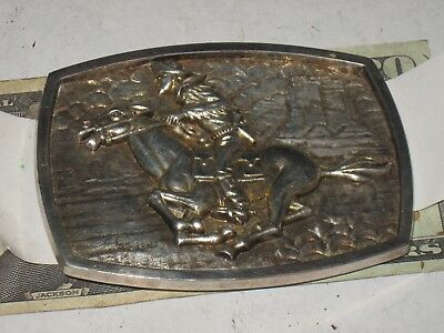 Pony Express Belt Buckle no 56273 Cast metal Horse and Rider for 1.75 inch Belt