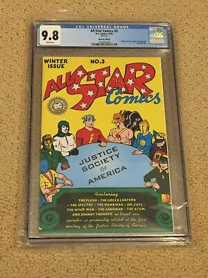 All Star Comics 3 CGC 9.8 White Pgs (Rep 1st app Justice Soc of Am from 1940!!)