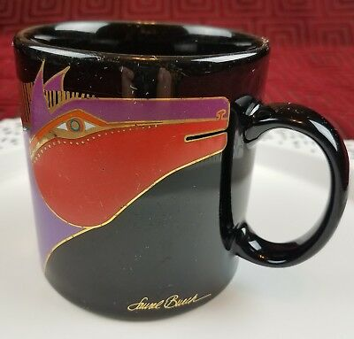 Laurel Burch Moroccan Horse Coffee Mug Equestrian Black Gold Purple Red Japan