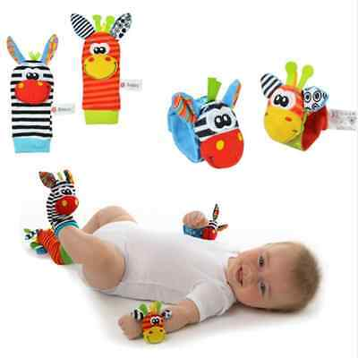 Lot Infant Baby Kid Boy Girl Animal Hand Wrist Bells Foot Sock Rattle Soft Toy