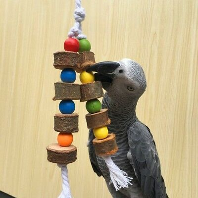 Natural Wooden Birds Parrot Colorful Toys Chew Bite Hanging Cage Balls Two Ropes