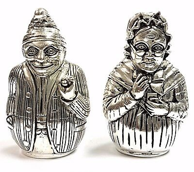 Novelty Antique Style Punch and Judy Salt & Pepper Shakers 925 Silver Plate