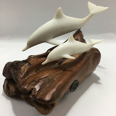 Vintage White Dolphin And Calf Sculpture Burl Wood Drift Wood  By John Perry Tag