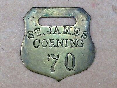 Antique Brass Luggage Tag Bag Check St James Hotel Corning Ny