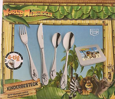 4 tlg. Kinderbesteckset World of Madagaskar 1B Ware