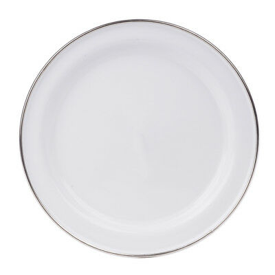 NEW Falcon White Enamel Dinner Plate with Stainless Steel Rim