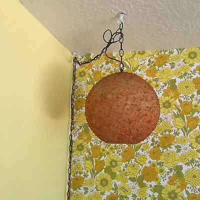 Vtg Mid Century Modern Spun Lucite Gravel Swag Lamp Orange Hanging Light vintage
