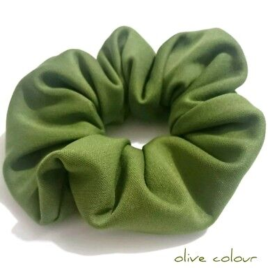 Olive colour Girls women quality Handmade scrunchie ponytail hair accesorries