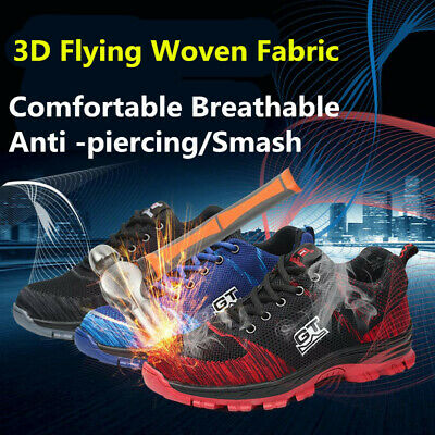 Mens Safety Shoes Steel Toe Work Boots Breathable Hiking Climbing Sport Fashion
