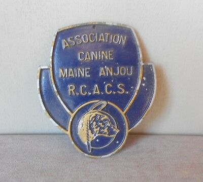 Vintage French cast alu BLUE DOG PET AWARD Plaque Sign MAINE ANJOU