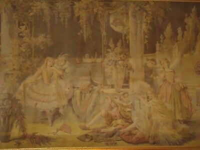 STUNNING 42X56 Romantic French Scene Antique Large Framed Aubusson Tapestry