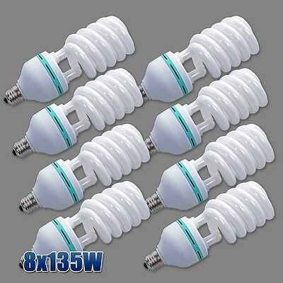 8x135w Daylight Energy Saving Bulb Photo Studio 5500K Light Bulbs Lighting Globe