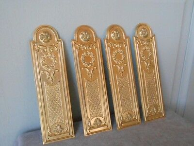 2 PAIRS of FRENCH Antique Brass CHATEAU Backplates PUSH Plates LOUIS XVI style