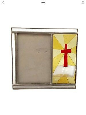 """Vintage Stained Glass Picture Frame Religious Cross Burnes of Boston  4"""" x 6"""""""