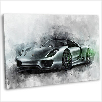 Porsche Spyder Canvas Print Framed Abstract Watercolour Car Painting Art Picture