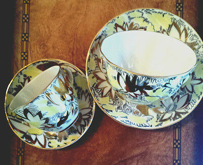 VTG Russian Imperial LFZ Porcelain Tea & coffee cups & saucers Golden Chamomile