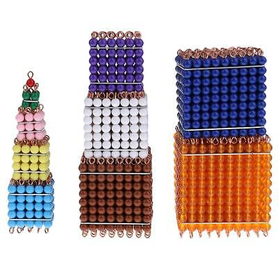 Montessori Mathematics Number Learning 1-10 Bead Bar Cube for Kids Education