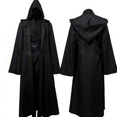 Adult Mens Hooded Robe Cloak Cape Party Halloween Vampire Cosplay Costume S-XXL
