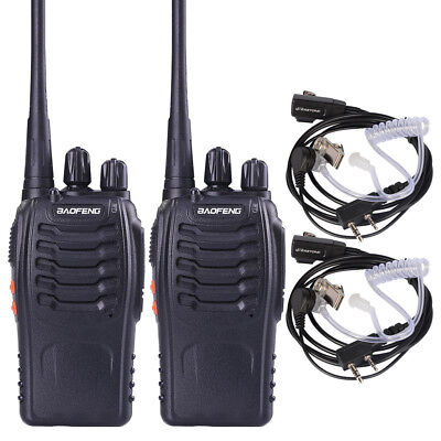 2 x BaoFeng BF-888S 400-470 MHZ  Portable Walkie Talkie Two Way Radio + Earpiece