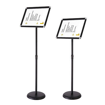 A3 Pedestal Sign Holder Floor Stand Adjustable with Telescoping Post Black