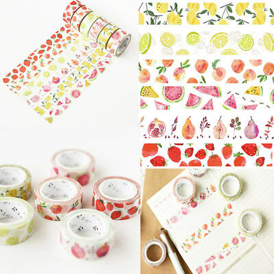 Fruit Paper Masking Tapes Washi Tape DIY Scrapbooking Craft Sticker Deco 15mm*7m