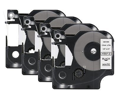 4 Compatible DYMO D1 LabelManager 45013 S0720530 Black on White Label Tape