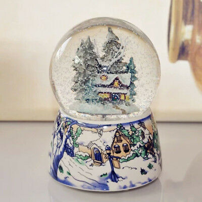 Snow &tree house Musical Water Snow Globe Music Box Rotating Xmas Crafts Gift AU
