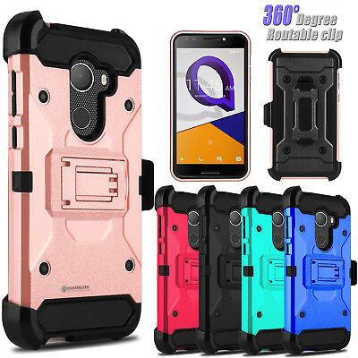 For T-Mobile REVVL/Alcatel A30 Fierce Shockproof Kickstand Clip Phone Case Cover