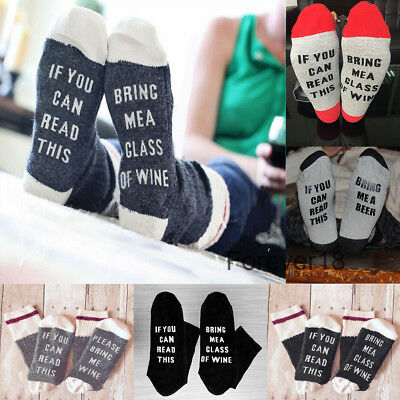 Women Mens Funny Socks If You can read this Bring Me a Glass of Wine,Beer,Coffee