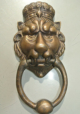 small crown LION head heavy front Door Knocker SOLID BRASS vintage style 6.1/2""