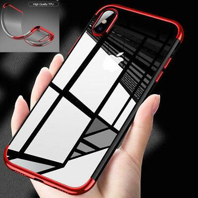 Luxury Hybrid 360° Shockproof Plating Silicone Case Cover for iPhone X 10 8 Plus