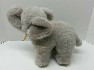 """Gund Stuffed Elephant Plush Standing 10"""" Toy 1986 cloth tag """"Nosey"""" Tusks"""