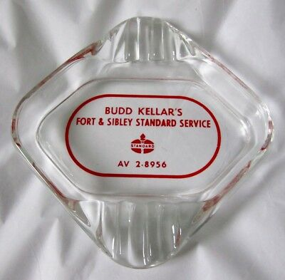 Vintage Standard Gas Station Glass Ash Tray Budd Kellar's Detroit Area Downriver