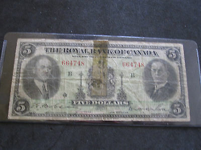 1935 Royal Bank Of Canada $5 Five Dollars Banknote