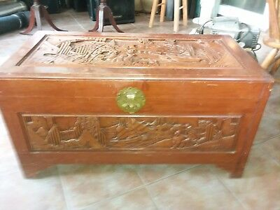 Vintage Finely Carved Asian Cedar Chest