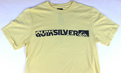 QUIKSILVER Mens Graphic Shirt Tee Slim Fit Size Small Yellow NEW Short Sleeve