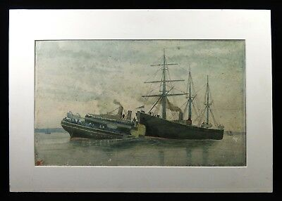 'princess Alice' Disaster On River Thames, Sep. 3, 1878 Signed W/c By E. A. Drew